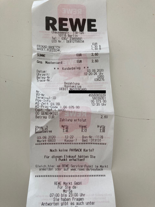 Photograph of a wrinkly receipt