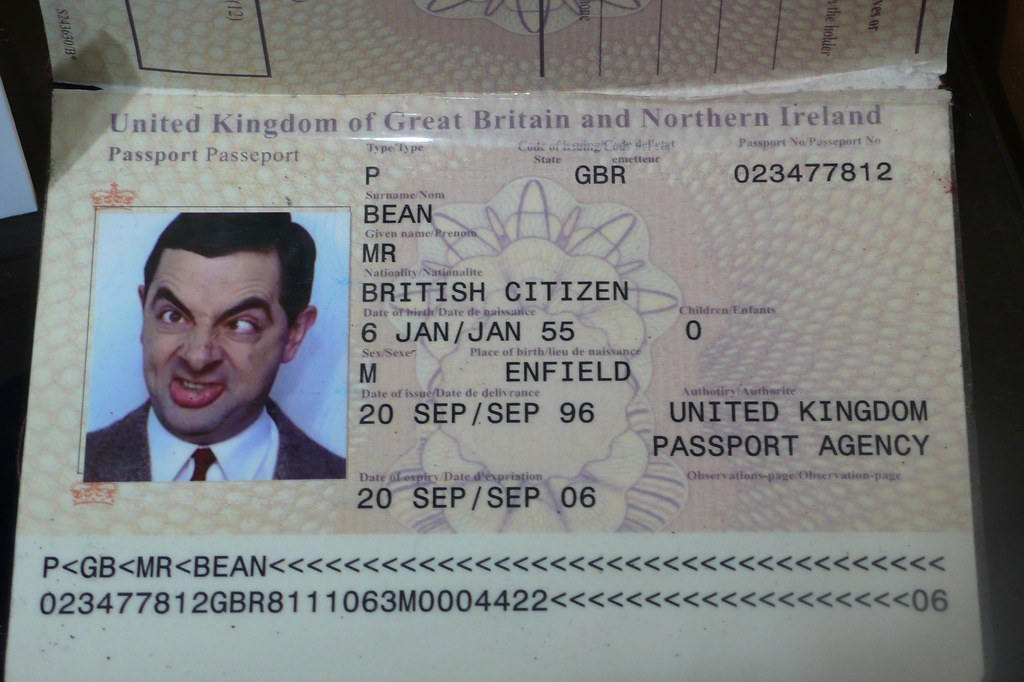Mr. Bean's passport